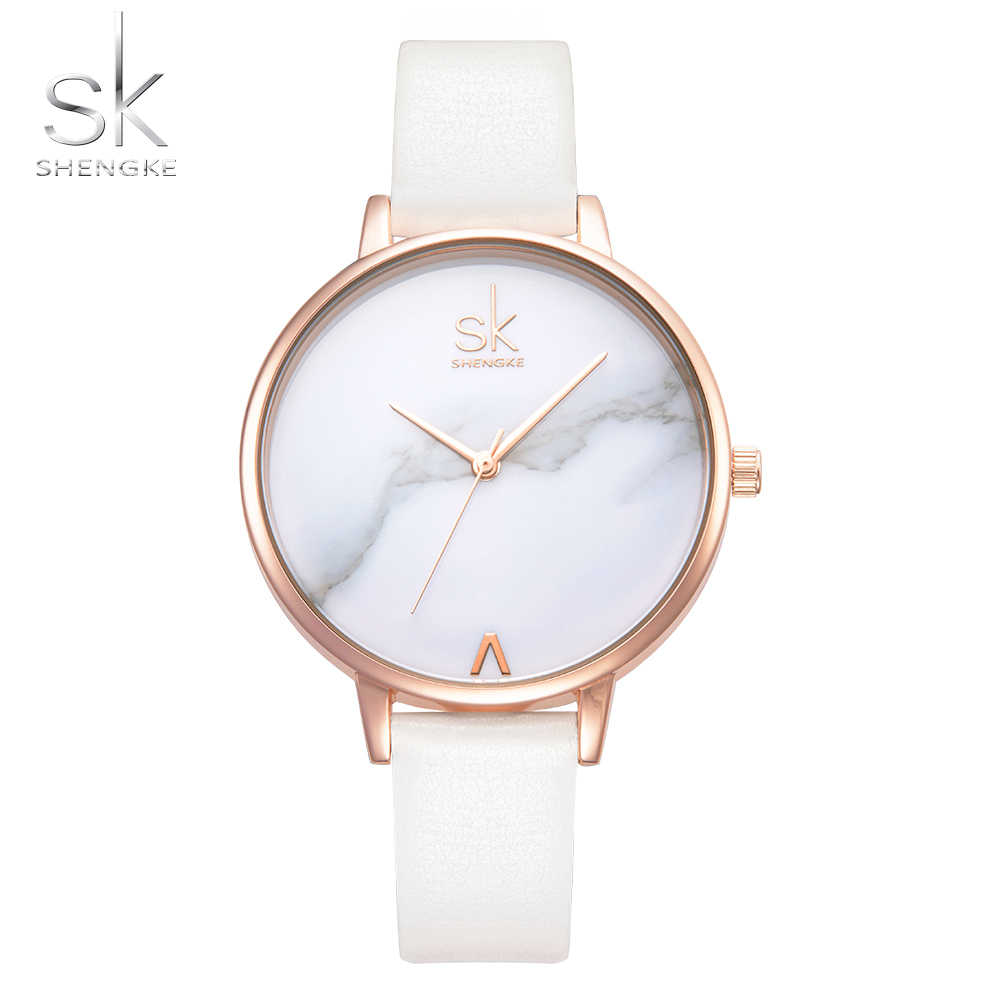 Reloj mujer Shengke модный бренд белый кожаный мрамор Циферблат Женские  кварцевые часы для женщин тонкий повседневное 497b0a91c8d
