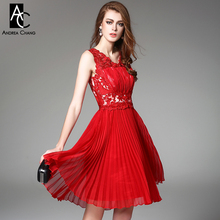 2015 spring summer designer womens dresses red dark blue beaded flower embroidery pleated fashion brand knee length event dress