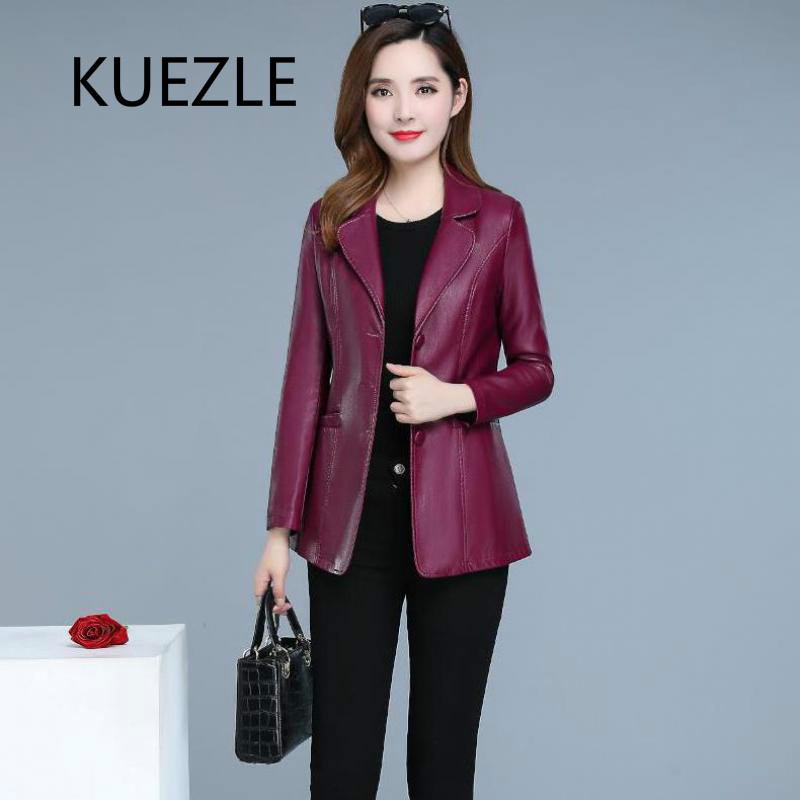 Autumn fashion PU   leather   jacket female wine red Top 2019 new single-breasted V-neck elegant abrigo jaqueta corta vento feminina
