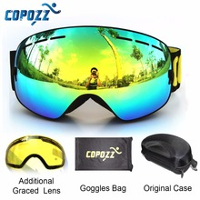 цена на COPOZZ brand ski goggles 2 double lens anti-fog UV400 big large spherical snowboard glasses men women skiing snow goggles Set