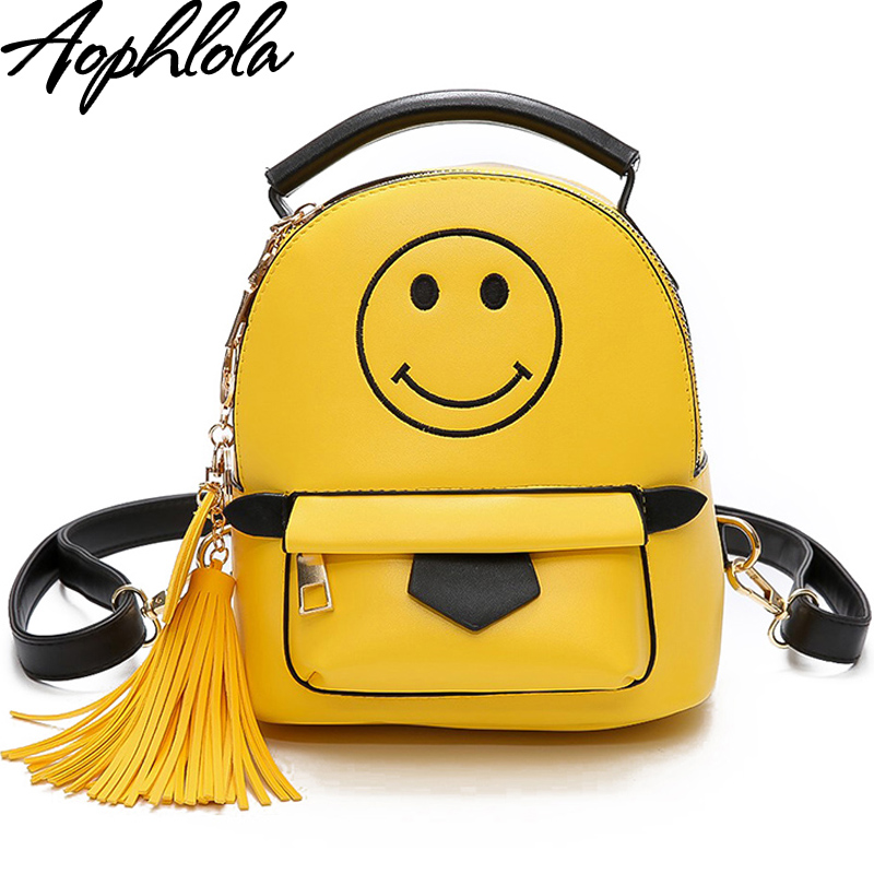 amarillo bolsos mujeres Linda moda borla sonrisa de 2017 cuero PUYqx