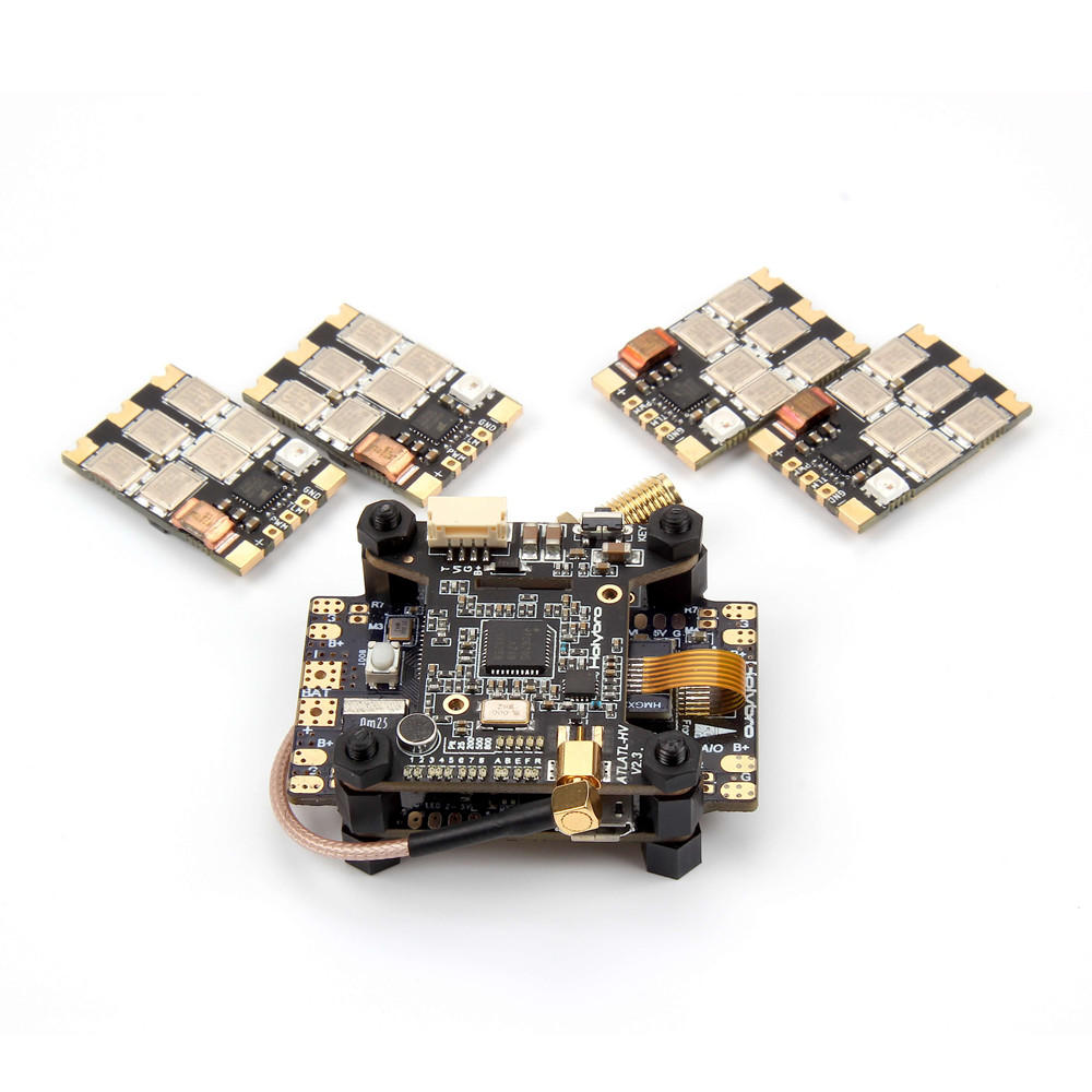 Holybro Kakute F7 AIO OSD BEC Flight Controller & Atlatl HV V2 FPV Transmitter & 4 PCS 65A BL_32 Tekko32 F3 Metal ESC Combo for