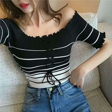 Streetwear Women Sexy Off Shoulder Casual Tank Tops Vest Blouse Crop Korean Fashion Lace Up Stripe Knitted