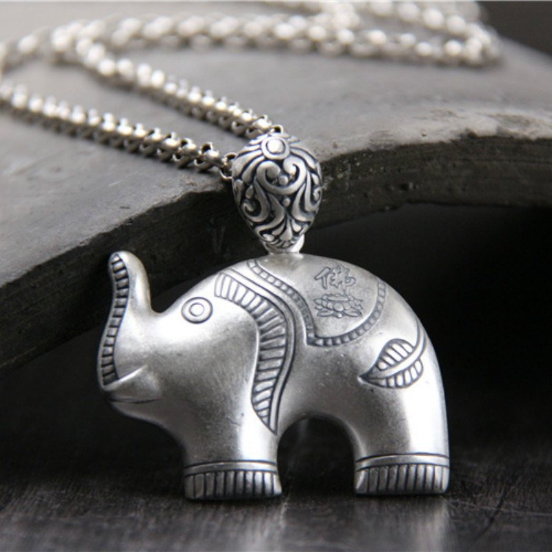 Lucky Elephant Carving 999 Sterling Silver Pendant For Fashion Jewelry Evil Defends Gift 23G 46*37mm