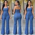 Nueva 2017 S-XL de Calidad Superior Mujeres Niñas Washed Denim Casual Agujero Mono Mameluco Trajes de Luz Blue Jeans Pantalones Largos