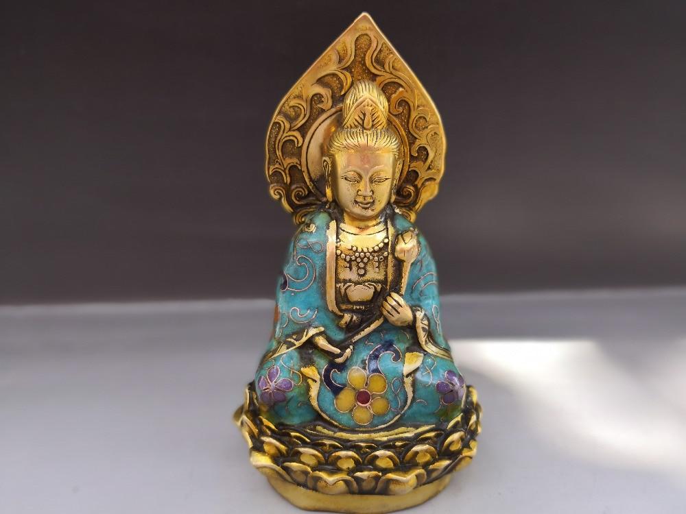 Chiński stary brąz Cloisonne statua tybetu Guanyin w Figurki i miniatury od Dom i ogród na  Grupa 1