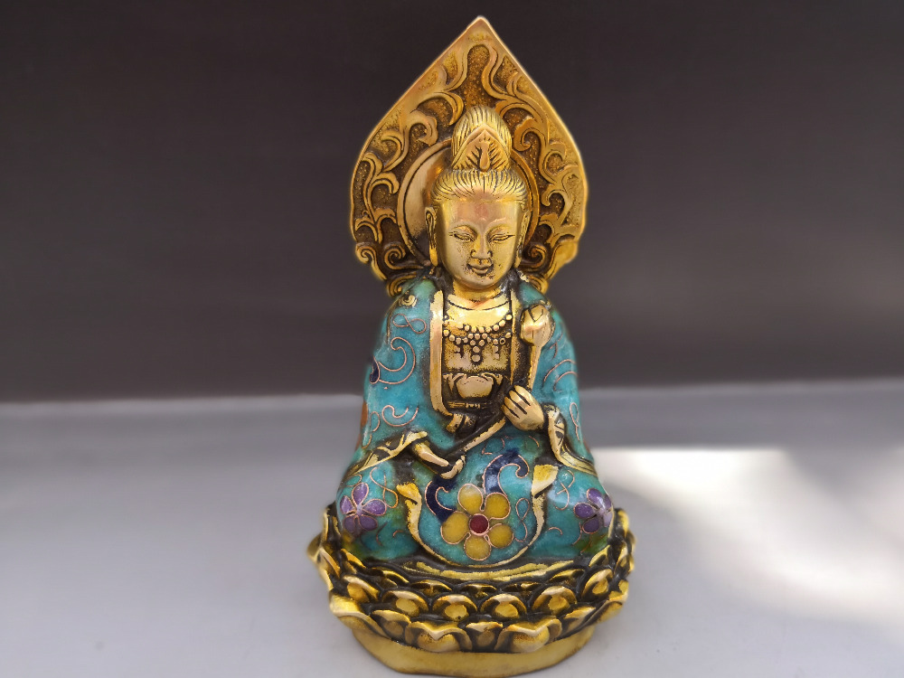 Chinese old bronze Cloisonne statue of Tibet  Guanyin-in Figurines & Miniatures from Home & Garden    1