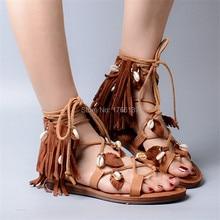 Böhmen Mode Frauen Echtes Leder Quasten Sandalen Lace Up Frauen Shell Decor Flache Schuhe Fransen Sommer Strand Casual Wohnungen