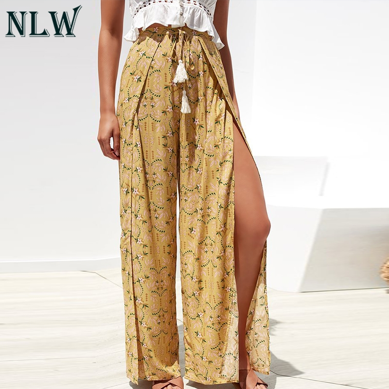 NLW Casual Vintage Floral Print Long   Pants   2019 Summer Split Beach Wide Leg Trousers Female High Waist Lace up   Capris