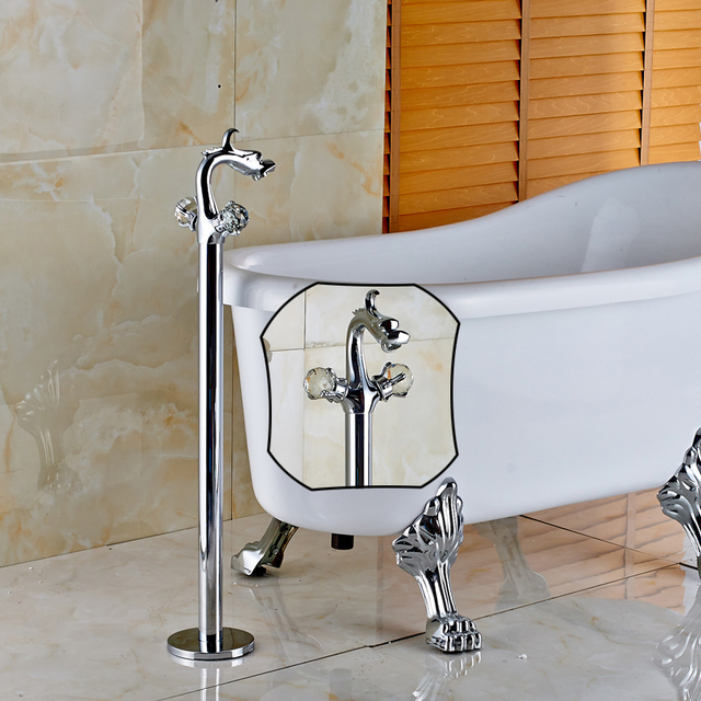 Polished Chrome Floor Type Sitting Faucet Bathtub Faucet Clawfoot Bathroom  Tub Filler Taps Dragon Style