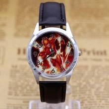 2017 Hot Sale Flash BOYS Cartoon Watch Fashion Lovely Girl Children Watches PU Strap Quartz Wristwatch Kids Dress Clock