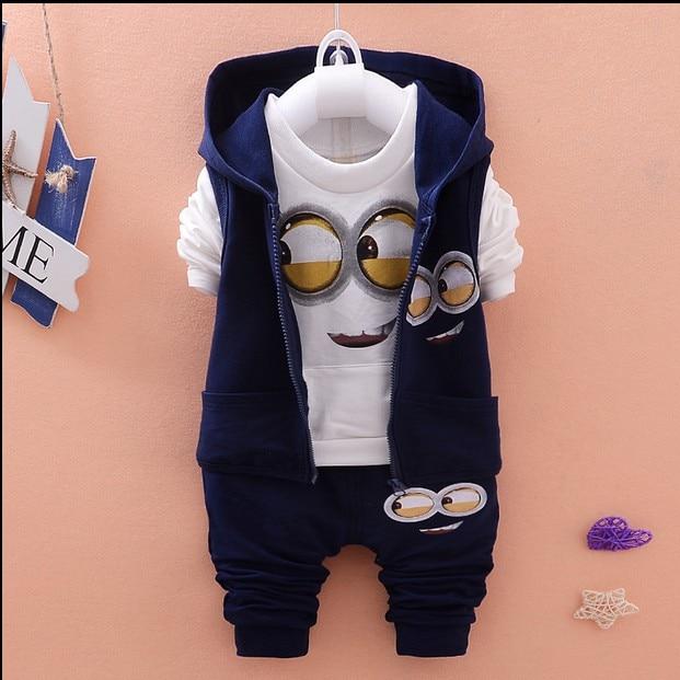 1d6cc8883 Newest 2018 Autumn Baby Girls Boys Minion Suits Infant/Newborn Clothes Sets  Kids Vest+