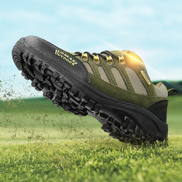 High Quality Thick Sole Men Hiking Shoes Amy Green Sports Sneakers Outdoor Male Camping Trekking Mountain Shoes Men Walking New