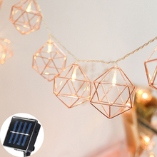 купить 20 Led 6CM Fairy Retro Geometric Solar Battery Operated String Lights 5m LED Decoration For Christmas Garland New Year gerlyanda дешево
