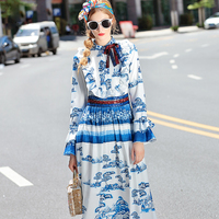 New 2016 Fashion Runway Maxi Dress Women S Long Sleeve Elegant Blue And White Porcelain Printed
