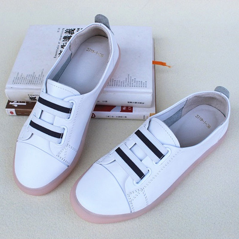 Women s Shoes Slip on White Loafers 100 Genuine Leather Woman Sneakers Ladies Flat Shoes 3319
