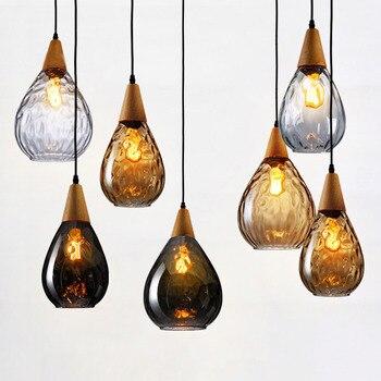 Suspension en verre goutte d'eau créative moderne suspension lampe bois + verre abat-jour Loft suspension pour Restaurant Bar café