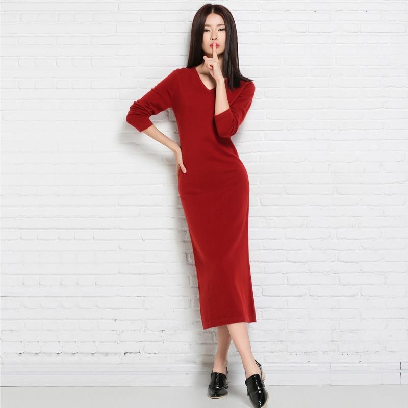 فساتين أطول الشتاء / الربيع اللباس النساء الكشمير محبوك البلوفرات السيدات الخامس الرقبة اللباس gilrs الملابس منتصف العجل البلوزات أنثى