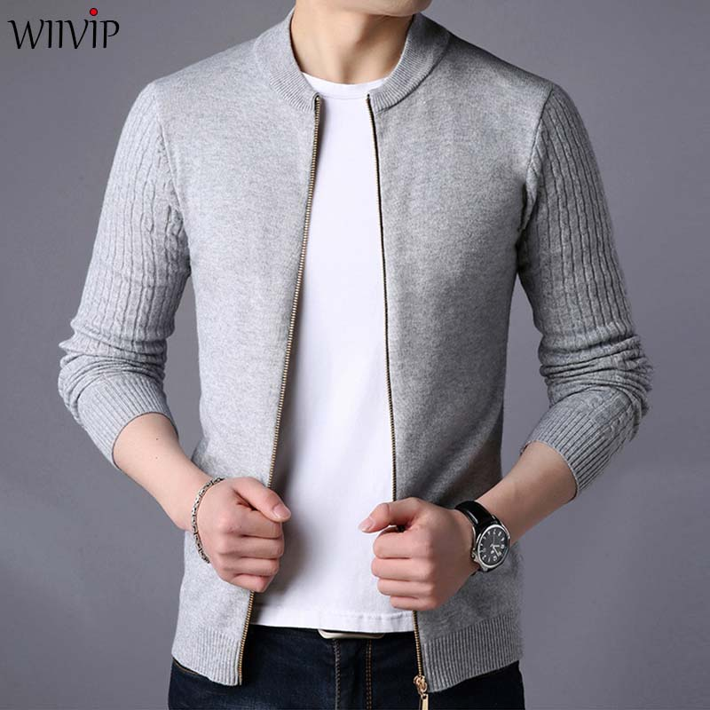 Fashion New Man Slim Solid Stand Collar Full Sleeve Zipper Sweatercoat Jacket Male Spring Summer Knit Sweater Cardigans YW443