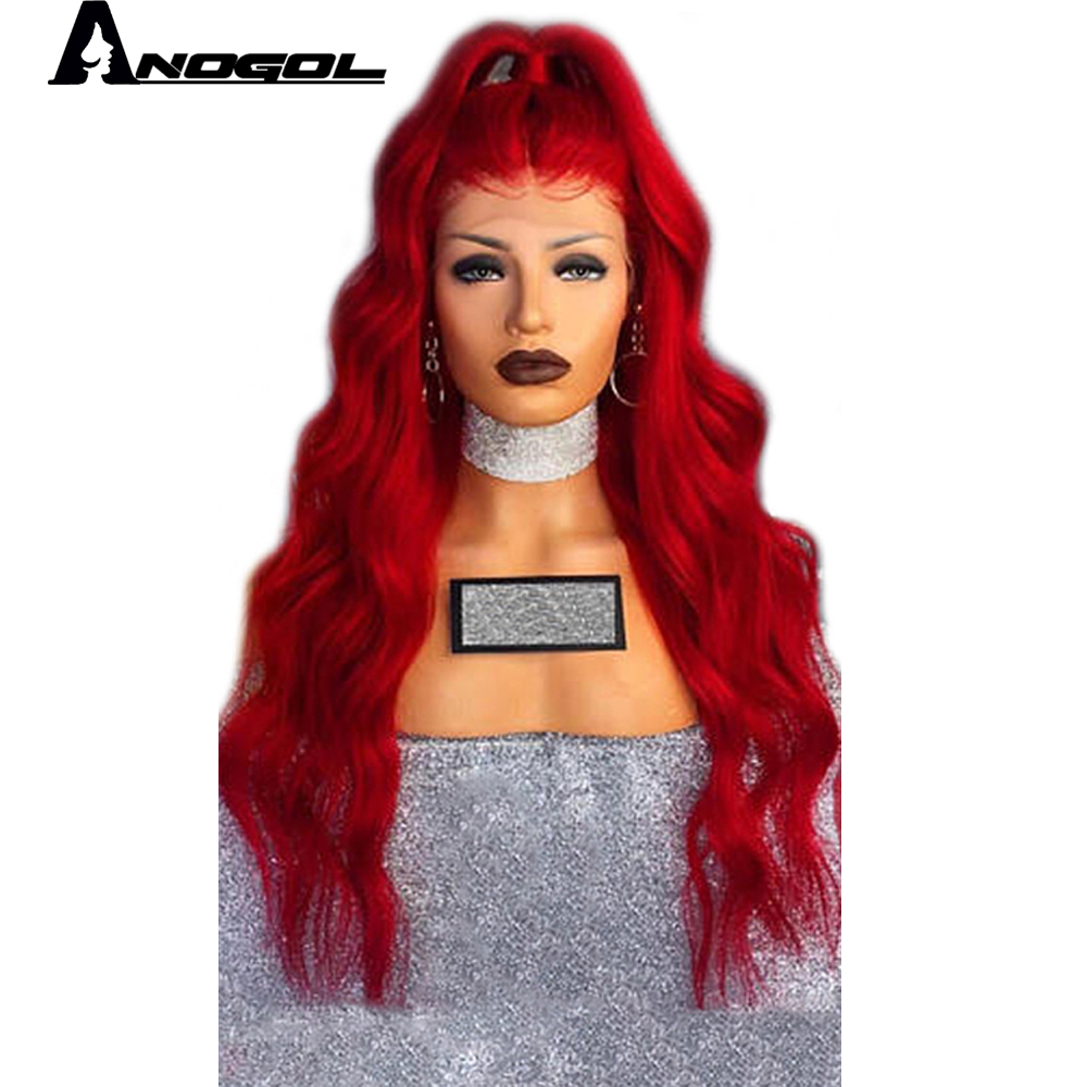 Anogol High Temperature Fiber U Part Per Plucked Full Hair Wigs Red Long Body Wave Synthetic