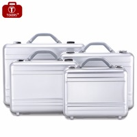 Aluminium Briefcase men Lawyer Business Attache case Laptop Office bag with Foam Tool box Case 14inch in Silver