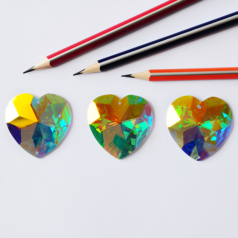 2202TH 40mm Crystal AB Heart Sew On Rhinestones Glass Sew On Stones Flatback Sewing Stones For Women Dress Decoration in Rhinestones from Home Garden
