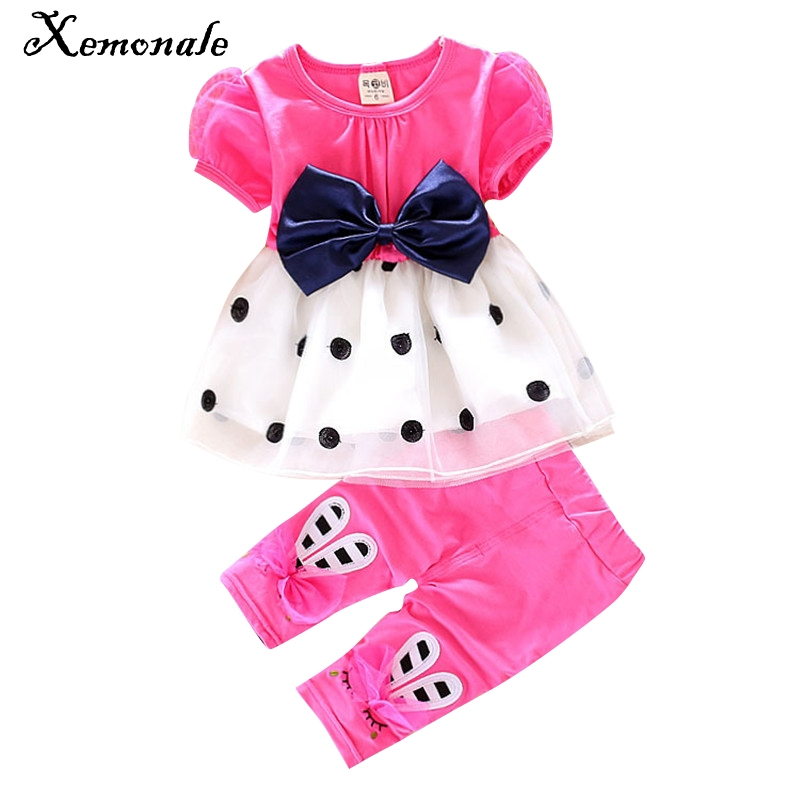 Xemonale  fashion toddler baby girls summer clothing set skids sport suit set tracksuit set bow 2pcs girls summer clothes set 2016 new summer baby sport suit 100