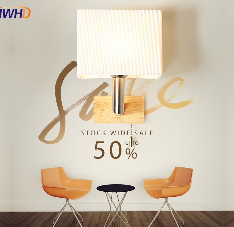 IWHD Simple Modern Wall Sconce Cloth Shade Switch LED Wall Light Fixtures Aisle Home Indoor Lighting Double Bedside Wall Lamp modern led bathroom light stainless steel led mirror lamp dresser cabinet waterproof sconce indoor home wall lighting fixtures