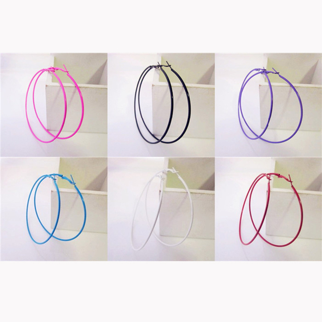 Colorful Sexy Fascinating Big Circle Fashion Hoop Earrings for Women Trendy pier