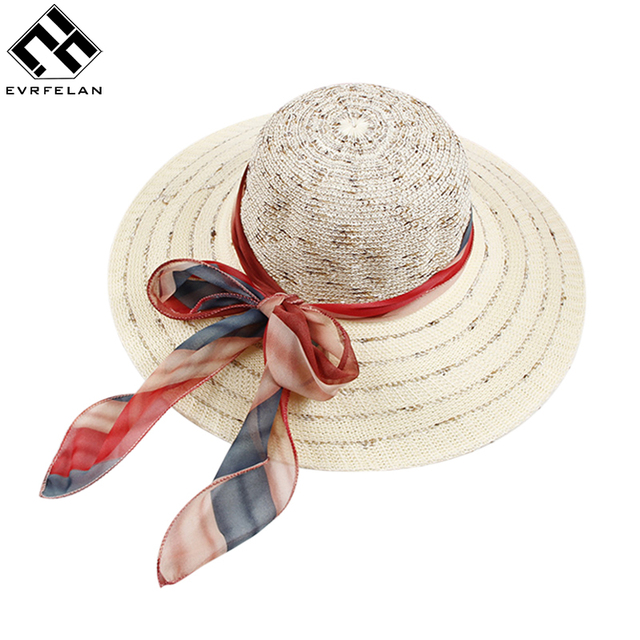 801361f8bfc Evrfelan Hot Sale Flat Top Straw Hat Summer Spring Women S Trip Caps  Leisure Beach Sun Hat