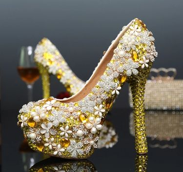 2017 newest gold luxury wedding shoes female ladies rhinestones flower evening parties dress proms pump shoes TG348 high quality