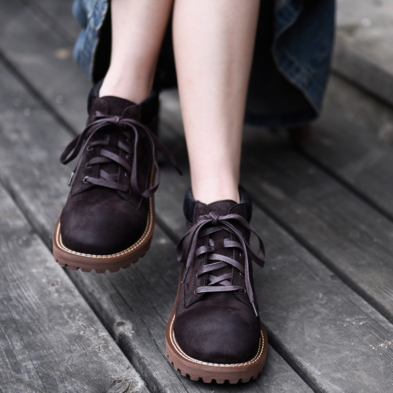 цена Artmu Original British Retro Martin Boots Comfortable Flat Sole Boots Spring and Autumn Genuine Leather Ankle Boots F31392 в интернет-магазинах