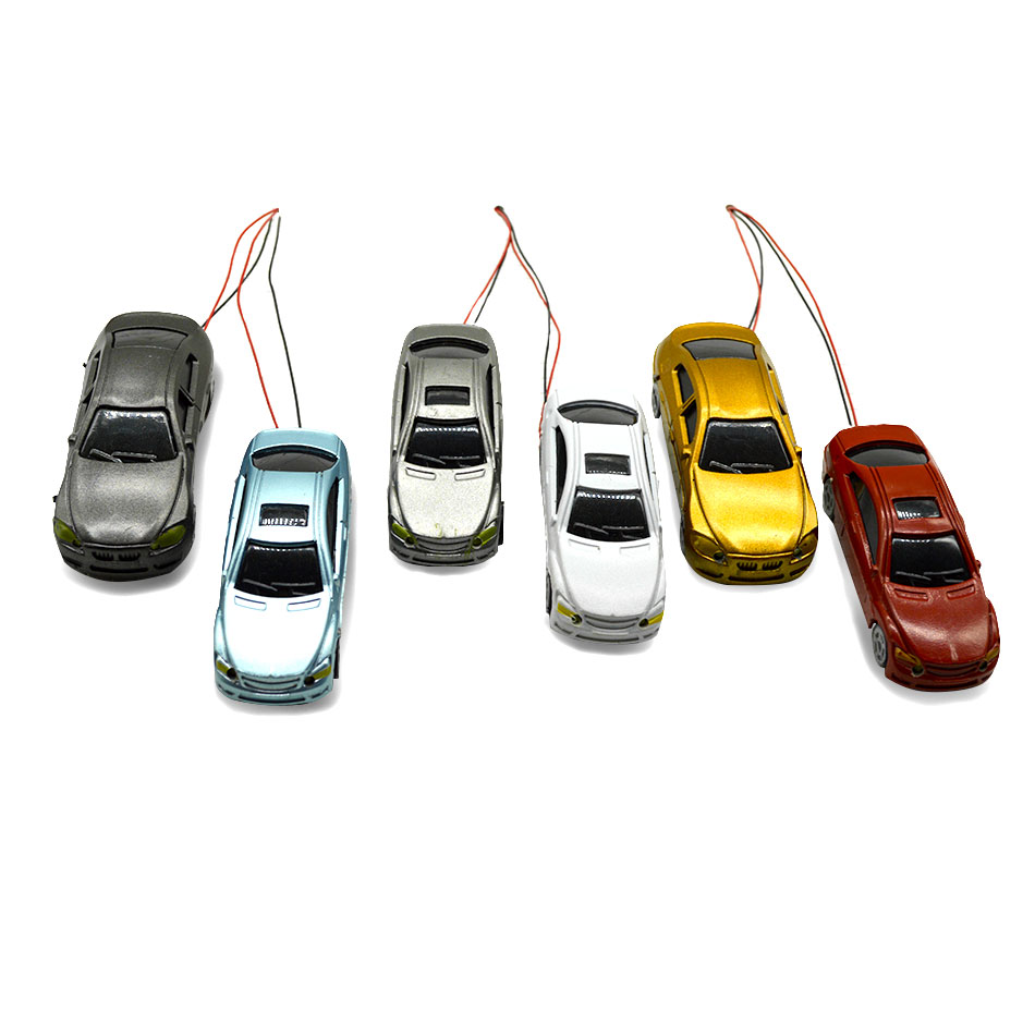 50pcs scale model lighted car model architecture material model plastic car with 12V LED light