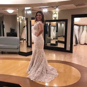 Image 3 - Vintage 2019 Wedding Dresses Off The Shoulder Lace Bridal Gowns Sheath Style Cap Sleeves Vestido De Noiva Custom Wedding Gown