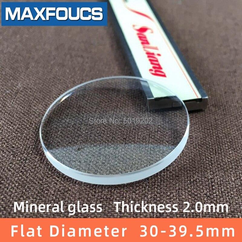 Reloj de cristal Mineral plano de 2,0mm de grosor, 30-39,5mm de diámetro, piezas de reloj de cristal plano transparente, 1 Uds.