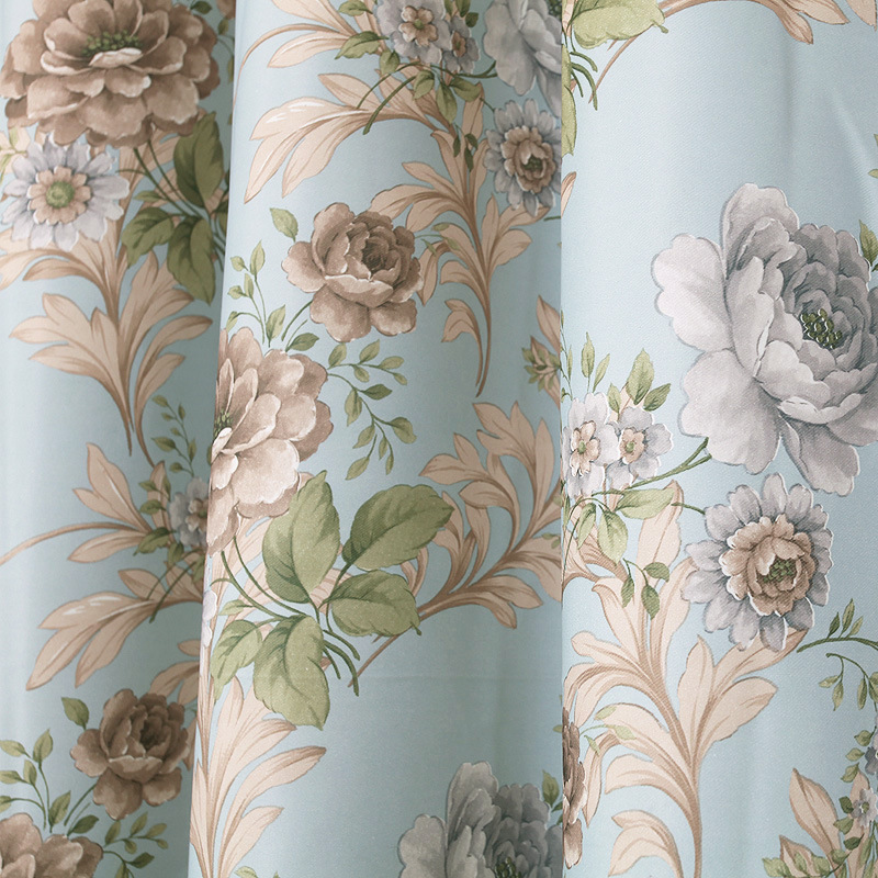 Flowers Curtains American Pastoral Village Window Door Curtains For Living Room High Shading Curtains For Bedroom Tulle Curtains