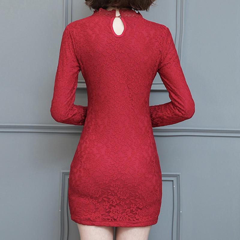 Black White Red Plus Size XXXL Thicken Sexy Pack Hip Mini Dress Women Lace  Dresses Long Sleeve Plus Velvet Winter Dress 2017 -in Dresses from Women s  ... 7a5980c06d66