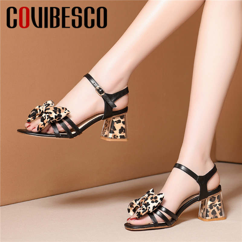 COVIBESCO 2019 Summer New Sexy Leopard Women Sandals Genuine Leather Buckle Butterfly Knot High Heels Party Office Shoes Woman