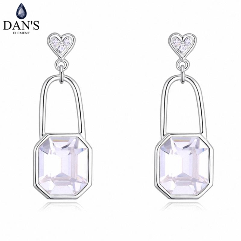 DANS 4 Colors Real Austrian crystals Stud earrings for women Earrings s New Sale Hot Round 130346