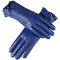 Luvas das mulheres, Couro Genuíno, forro de Algodão, azul luvas de couro, luvas de couro para as mulheres, Fêmea luvas