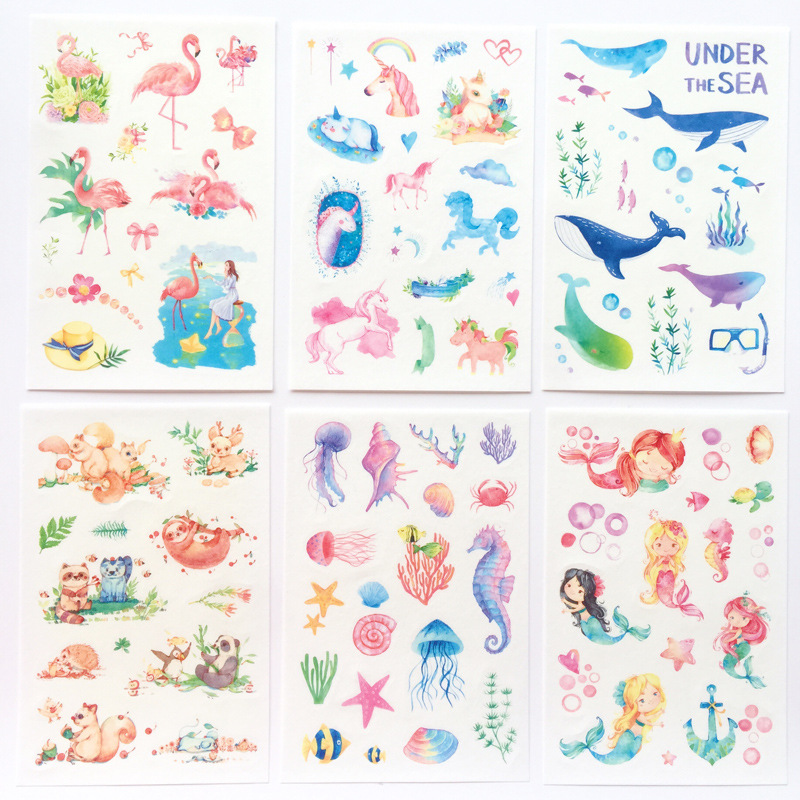 6 Pcs/pack Fairy Tale World Unicorn Flamingo Decorative Stationery Stickers Scrapbooking DIY Diary Album Stick Label