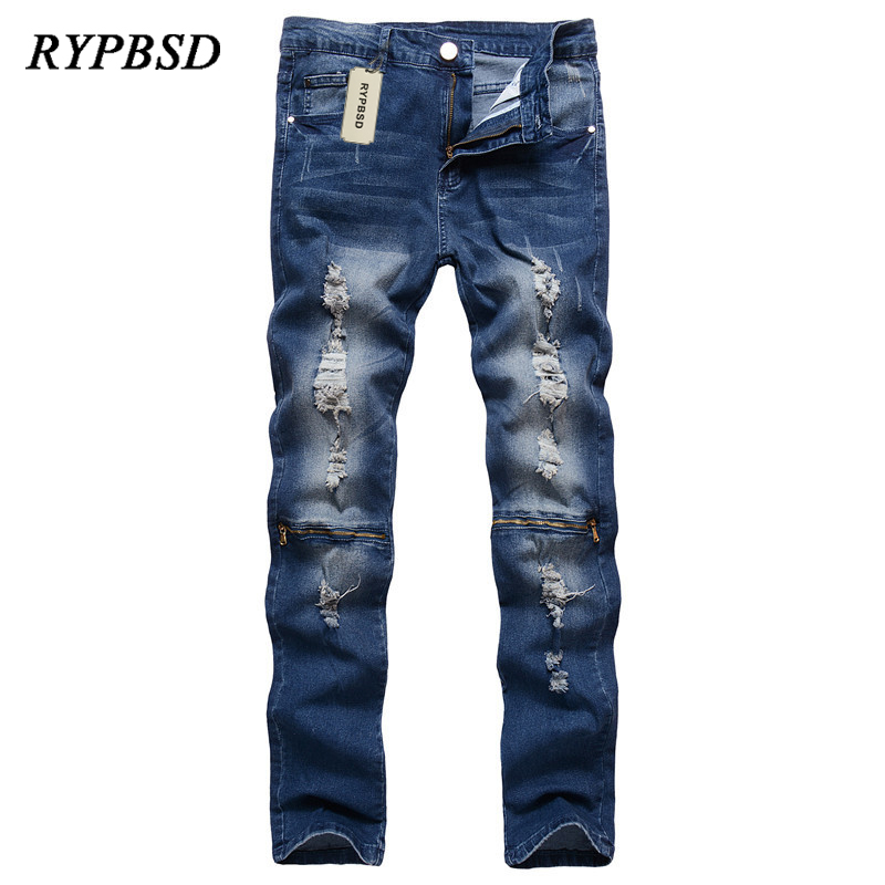 New Mens Knee Zipper Hole Ripped Jeans for Men Skinny Casual Pants Slim Pencil Stretch N ...