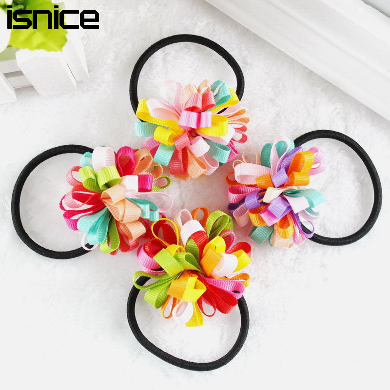 isnice New Colorfully Boutique Bows Elastic Hair band for girl and woman hair Accessories Ribbon Bow Hair Tie Rope Hair Band
