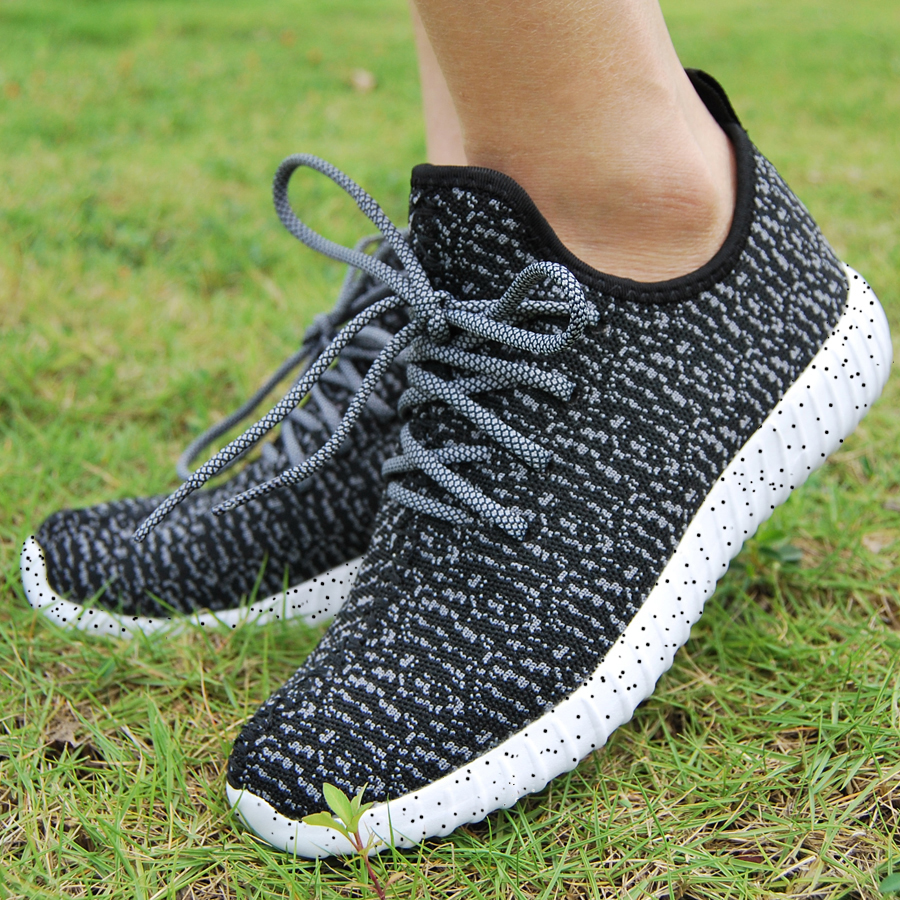 16 new black color sport shoes woman and man,new idea computer woven breathable sneakers woman & man,comfortable shoes 6