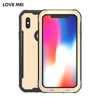 Newest For Iphone X Phone Case LOVE MEI Metal Aluminum Powerful Shockproof Waterproof Full Coverage Case