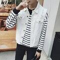 2016 Nueva Llegada de La Manera Decoración Agujero blanco Chaleco Chaleco de Jeans de Mezclilla de Los Hombres de Los Hombres de Vaquero Chaleco Chaqueta Sin Mangas de Mezclilla Libre gratis