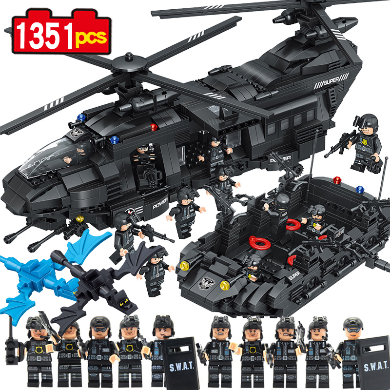 1351pcs Swat team model building blocks Chinook transport helicopter Educational Bricks Kids Toys DIY стоимость