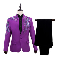 Men Play Suit Collar Stage Suits Sequins Menual Cost PerforMence Two piece Suit Red Purple Blue Mens Suit