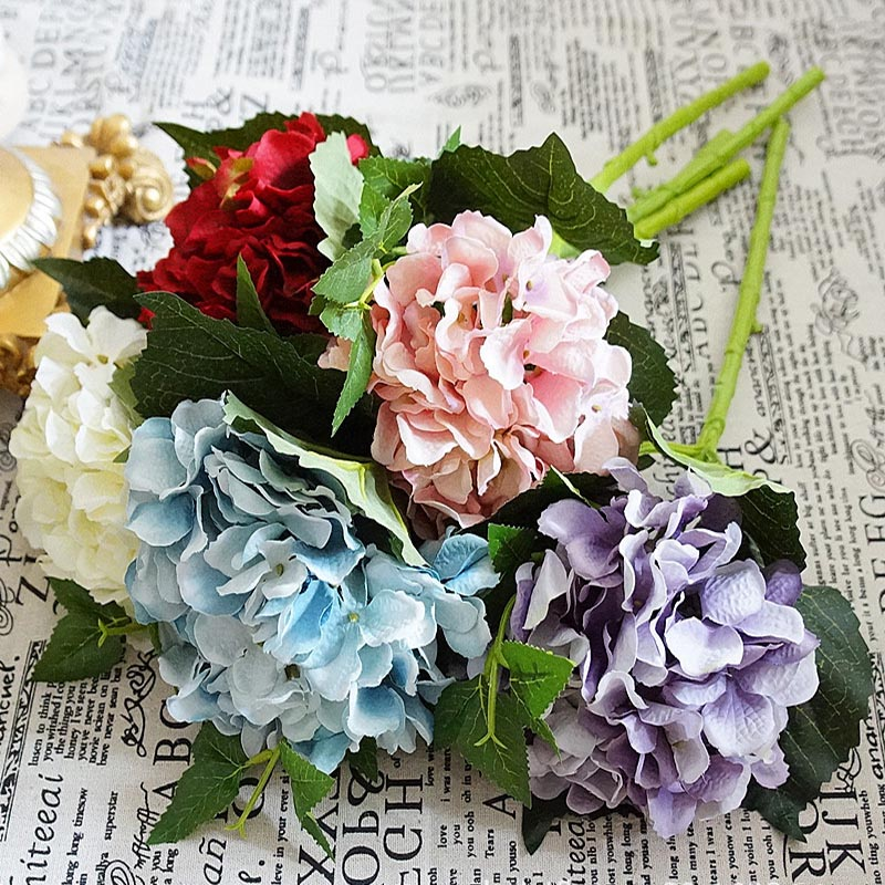 High quality silk hydrangea bride bouquet home wedding decoration high quality silk hydrangea bride bouquet home wedding decoration accessories for new year cheap artificial flowers wholesale junglespirit Gallery