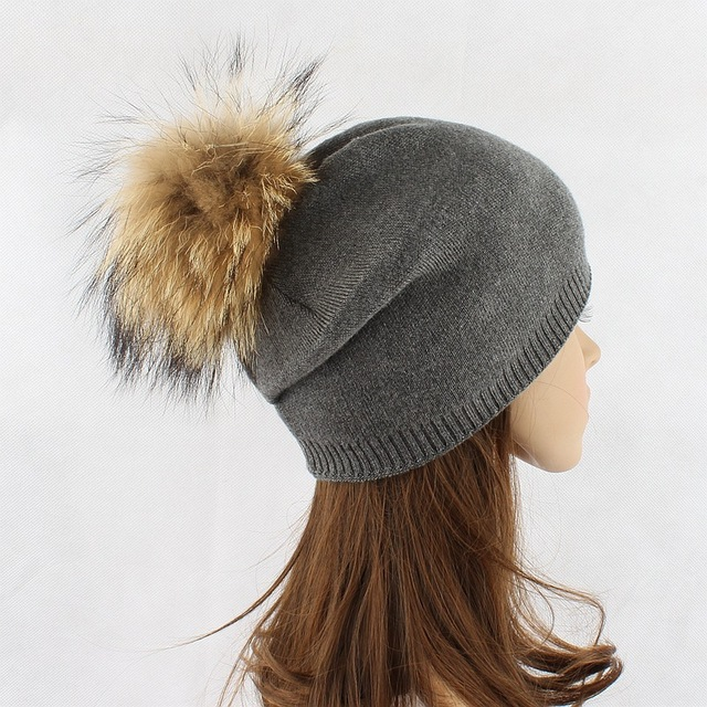 raccoon fur wool knitted warm  pom pom beanies